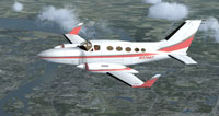 Screenshot of Pink/Gray/White Cessna 414 Chancellor in flight.