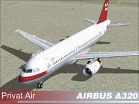 Screenshot of Privat Air Airbus A320-200 on the ground.
