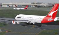 Screenshot of Qantas Airbus A380 on runway.