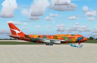 Screenshot of Qantas Boeing 747-400 on the ground.