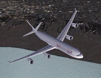Screenshot of Qatar Airways Airbus A340-600 in flight.