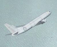 Screenshot of RAAF Boeing flying over water.