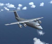Screenshot of RAF BAe 146-200 in flight.