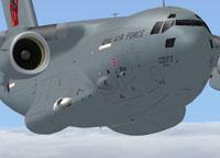 "Screenshot of RAF Boeing C-17 ""Red 10"" Tail in flight."