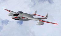 Screenshot of RCAF DeHavilland Vampire F.3 in flight.