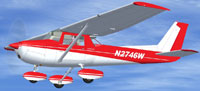 Screenshot of red and white Cessna 152 in flight.