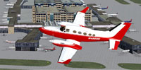 Screenshot of Red/White Cessna 414 Chancellor in flight.