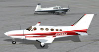 Screenshot of Red/White Cessna 414 Chancellor on the ground.