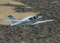 Screenshot of Rockwell AC11 Commander 114 N2611T in flight.
