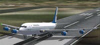 Screenshot of Romavia Boeing 707-3K1C taking off.