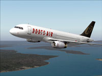 Screenshot of Roots Air Airbus A320-232 in flight.