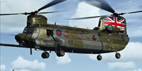 Screenshot of Royal Air Force MH-47G Chinook in the air.