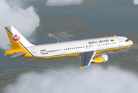 Screenshot of Royal Brunei Airlines Airbus A320 in flight.