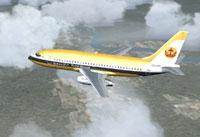 Screenshot of Royal Brunei Boeing 737-200 in flight.