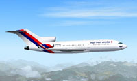 Screenshot of Royal Nepal Airlines Boeing 727-100 in flight.