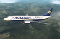 Screenshot of Ryanair Boeing 737-800 in flight.