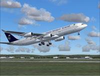 Screenshot of Saudi Arabian Airlines A340-300 taking off.