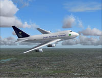 Screenshot of Saudi Arabian Airlines Boeing 747SP in flight.