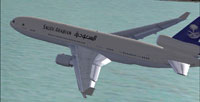 Screenshot of Saudia VIP McDonnell Douglas MD-11 in flight.