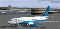 Screenshot of Silkroad Airlines Boeing 737-700 on the ground.