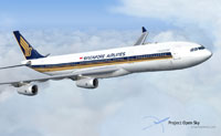 Screenshot of Singapore Airlines Airbus A340-313E in flight.