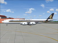 Screenshot of Singapore Airlines Airbus A340-500 on the ground.