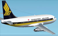 Screenshot of Singapore Airlines Boeing 737-200 in flight.
