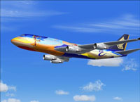 Screenshot of Singapore Airlines Boeing 747-400 in flight.