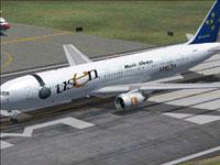 Screenshot of Skymark Boeing 767-300ER on runway.
