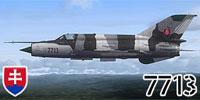 Side profile of Slovak MiG-21MF 7713 in flight.