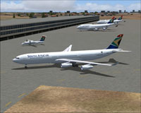 Screenshot of South African Airways A340-300 on the ground.