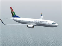 Screenshot of South African Airways Boeing 737-800 in flight.