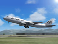Screenshot of Southern Air Boeing 747-200SUD taking off.