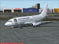 Screenshot of Southern Winds LAFSA Boeing 737-200 on the ground.