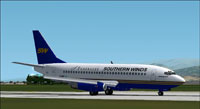 Screenshot of Southern Winds-Lafsa Boeing 737-200 on runway.