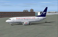 Screenshot of Sterling Boeing 737-700 on the ground.
