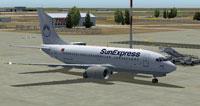 Screenshot of SunExpress Boeing 737-700 on the ground.