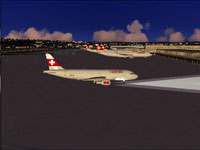 Screenshot of Swiss Airbus A320-214 on the ground.