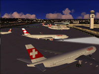 Screenshot of Swiss Airbus A330-223 on the ground.
