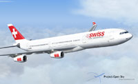 Screenshot of Swiss Airbus A340-313X in flight.