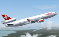 Screenshot of Swiss Airlines MD-11 in flight.