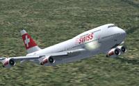 Screenshot of Swiss Boeing 747-400 in flight.