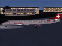 Screenshot of Swiss Embraer ERJ-145 LU on the ground.