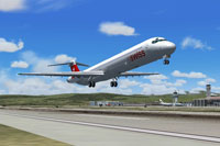 Screenshot of Swiss International MD-83 taking off from runway.