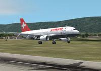 Screenshot of Swissair Airbus A319-100 seconds before touchdown.