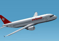Screenshot of Swissair Airbus A320-200 in flight.