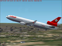 Screenshot of Swissair McDonnell Douglas MD-11 in flight.