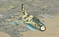 Screenshot of Syrian Mig-21MF in flight.