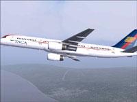 Screenshot of TACA Boeing 757-200 in flight.