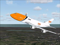 Screenshot of TNT Cargo Boeing 747-400ERF in flight.